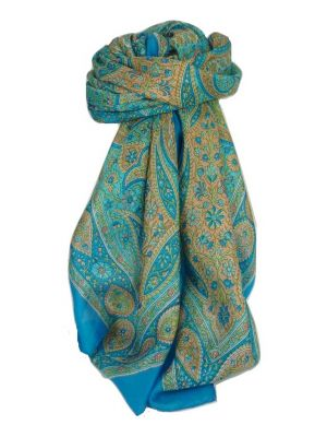 Classic Paisley Square Scarf Mulberry Silk Balay Forget Me Not by Pashmina & Silk