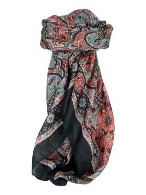 Classic Paisley Square Scarf Mulberry Silk Balay Jet by Pashmina & Silk