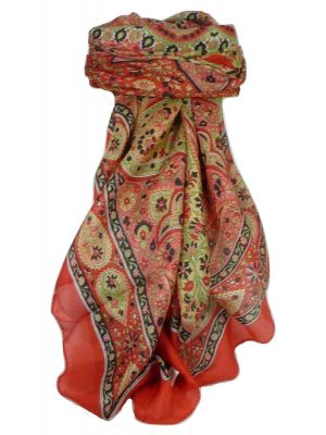 Classic Paisley Square Scarf Mulberry Silk Balay Scarlet by Pashmina & Silk