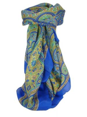 Classic Paisley Square Scarf Mulberry Silk Balay French Blue by Pashmina & Silk