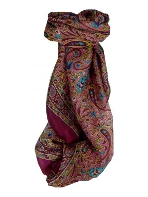 Mulberry Silk Traditional Square Scarf Pallik Violet by Pashmina & Silk