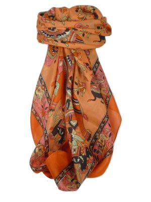 Classic Paisley Square Scarf Mulberry Silk Kakaul Marigold by Pashmina & Silk