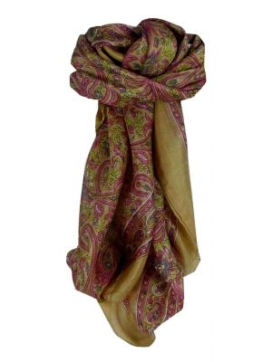 Mulberry Silk Traditional Square Scarf Pallik Chestnut by Pashmina & Silk
