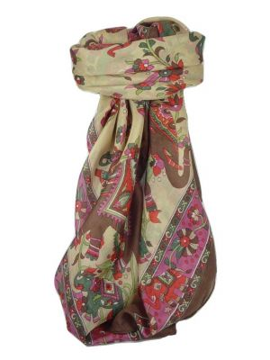 Classic Paisley Square Scarf Mulberry Silk Kakaul Chocolate by Pashmina & Silk