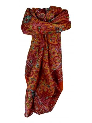 Mulberry Silk Traditional Square Scarf Pallik Tangerine by Pashmina & Silk