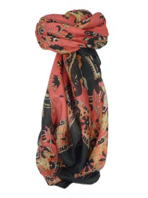 Classic Paisley Square Scarf Mulberry Silk Kakaul Jet by Pashmina & Silk