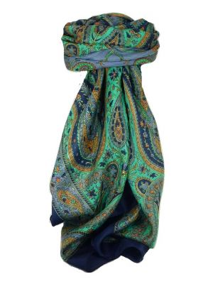 Classic Paisley Square Scarf Mulberry Silk Nori French Navy by Pashmina & Silk