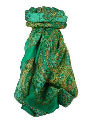 Classic Paisley Square Scarf Mulberry Silk Nori Jade by Pashmina & Silk
