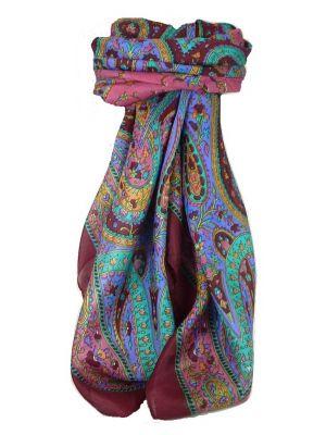 Classic Paisley Square Scarf Mulberry Silk Nori Hibiscus by Pashmina & Silk