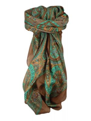 Classic Paisley Square Scarf Mulberry Silk Nori Sienna by Pashmina & Silk