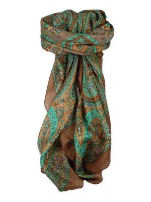 Classic Paisley Square Scarf Mulberry Silk Nori Sienna by Pashmina & Silk