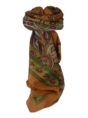 Mulberry Silk Traditional Square Scarf Zanskar Caramel by Pashmina & Silk
