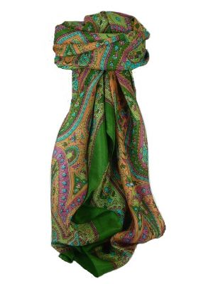Classic Paisley Square Scarf Mulberry Silk Nori Mint by Pashmina & Silk