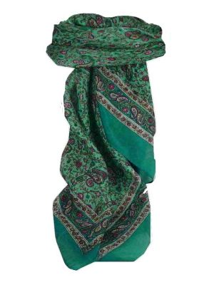 Mulberry Silk Traditional Square Scarf Zena Teal by Pashmina & Silk