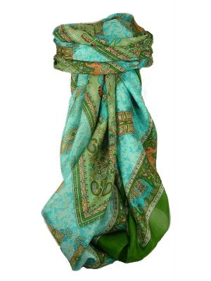 Classic Paisley Square Scarf Mulberry Silk Dyal Mint by Pashmina & Silk