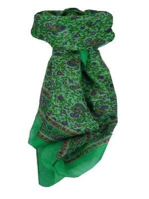 Mulberry Silk Traditional Square Scarf Zena Light Teal by Pashmina & Silk