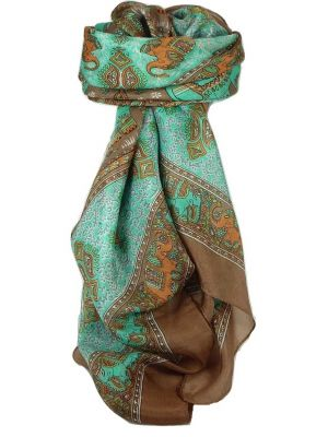 Classic Paisley Square Scarf Mulberry Silk Dyal Sienna by Pashmina & Silk
