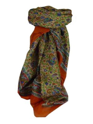 Mulberry Silk Traditional Square Scarf Zena Terracotta by Pashmina & Silk