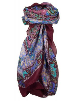 Classic Paisley Square Scarf Mulberry Silk Dyal Hibiscus by Pashmina & Silk