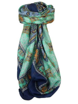 Classic Paisley Square Scarf Mulberry Silk Dyal French Navy by Pashmina & Silk