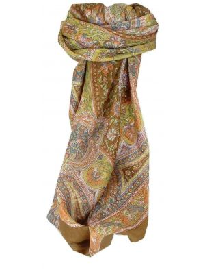 Mulberry Silk Traditional Square Scarf Kambi Copper by Pashmina & Silk