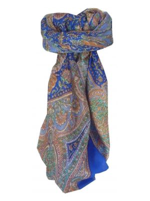 Mulberry Silk Traditional Square Scarf Kambi Blue by Pashmina & Silk