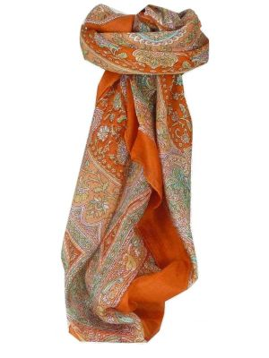 Mulberry Silk Traditional Square Scarf Kambi Terracotta by Pashmina & Silk