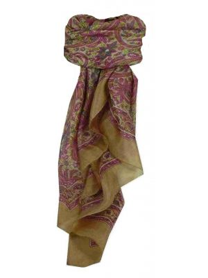 Mulberry Silk Traditional Square Scarf Tilli Ecru by Pashmina & Silk