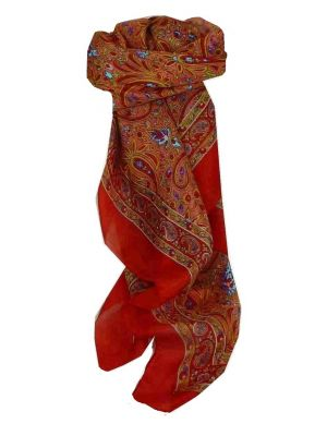 Mulberry Silk Traditional Square Scarf Tilli Terracotta by Pashmina & Silk