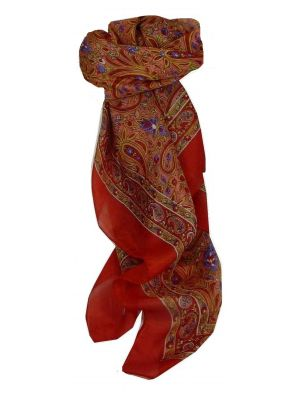Mulberry Silk Traditional Square Scarf Tilli Flame by Pashmina & Silk