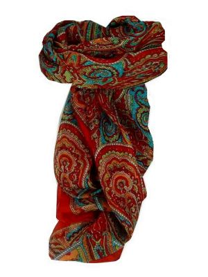 Mulberry Silk Traditional Square Scarf Shimla Red by Pashmina & Silk