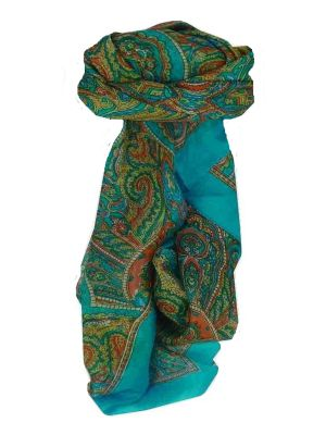 Mulberry Silk Traditional Square Scarf Shimla Aquamarine by Pashmina & Silk