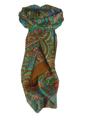 Mulberry Silk Traditional Square Scarf Shimla Gold by Pashmina & Silk
