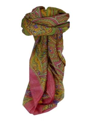 Mulberry Silk Traditional Square Scarf Shimla Pink by Pashmina & Silk