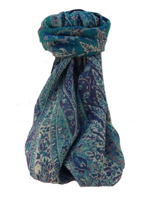 Mulberry Silk Contemporary Long Scarf Jarava Teal by Pashmina & Silk
