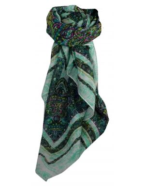 Mulberry Silk Traditional Square Scarf Shobna Aquamarine by Pashmina & Silk