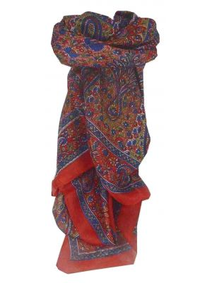 Mulberry Silk Traditional Square Scarf Solan Red by Pashmina & Silk