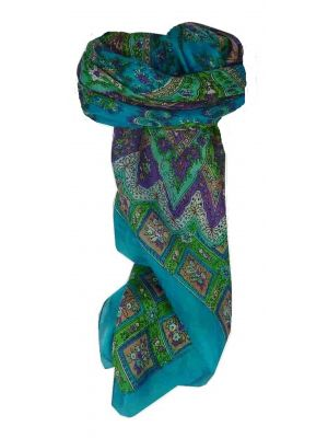 Mulberry Silk Traditional Square Scarf Sunita Aquamarine by Pashmina & Silk