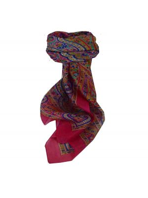 Mulberry Silk Traditional Square Scarf Suya Cerise by Pashmina & Silk