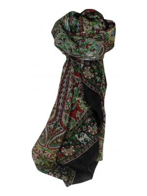 Mulberry Silk Traditional Square Scarf Sarnath Black by Pashmina & Silk