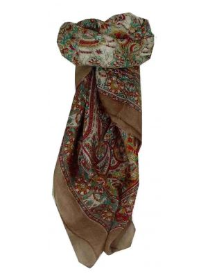 Mulberry Silk Traditional Square Scarf Sarnath Brown by Pashmina & Silk