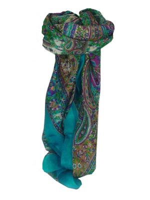 Mulberry Silk Traditional Square Scarf Sarnath Sky by Pashmina & Silk