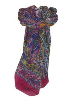 Mulberry Silk Traditional Square Scarf Sarnath Pink by Pashmina & Silk