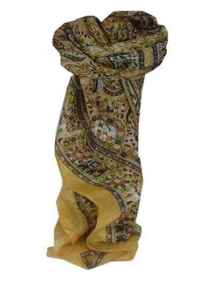 Mulberry Silk Traditional Square Scarf Sarnath Cream by Pashmina & Silk