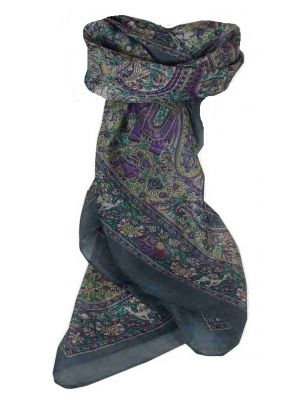 Mulberry Silk Traditional Square Scarf Sarnath Grey by Pashmina & Silk