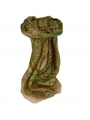 Mulberry Silk Traditional Square Scarf Shillong Gold by Pashmina & Silk