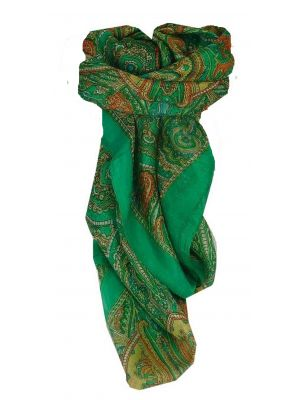 Mulberry Silk Traditional Square Scarf Shimla Green by Pashmina & Silk