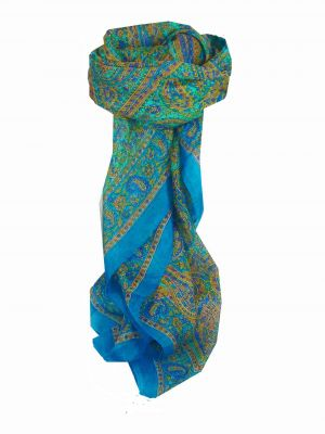 Mulberry Silk Traditional Square Scarf Rohana Aquamarine by Pashmina & Silk