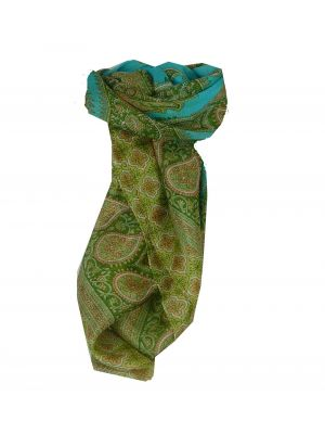 Mulberry Silk Traditional Square Scarf Salena Aquamarine & Green by Pashmina & Silk