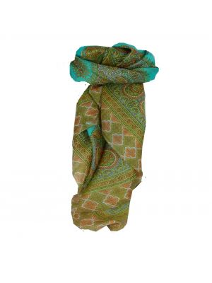Mulberry Silk Traditional Square Scarf Salena Aquamarine & Nectarine by Pashmina & Silk
